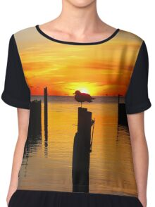Seagull's Silhouette During Sunrise   Sayville, New York  Chiffon Top