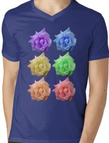 Row of Rose, Rainbow Mens V-Neck T-Shirt