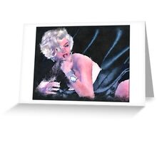Marilyn in Silk Sheets,Watercolor digital art Greeting Card
