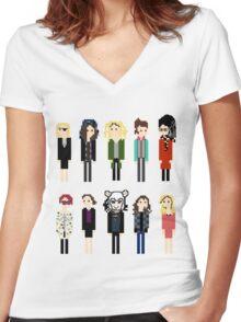 Pixel Sestras - 10 - Horizontal Women's Fitted V-Neck T-Shirt