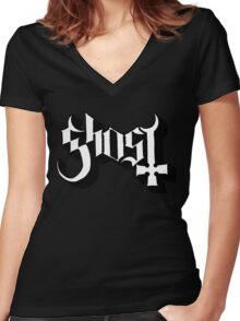 Ghost (Ghost BC) White/Black HD Logo Women's Fitted V-Neck T-Shirt