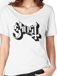 Ghost (Ghost BC) White/Black HD Logo Women's Relaxed Fit T-Shirt