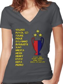 Barcelona 2009 Champions League Final Winners Women's Fitted V-Neck T-Shirt