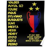 Barcelona 2009 Champions League Final Winners Poster