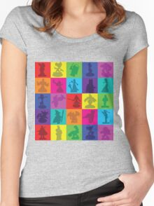 Toys For Games Color Grid Women's Fitted Scoop T-Shirt