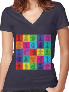 Toys For Games Color Grid Women's Fitted V-Neck T-Shirt