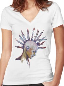 Papercuts Punk Mohawk Women's Fitted V-Neck T-Shirt