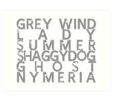 GoT Direwolf Typography (transparent) Art Print
