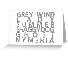 GoT Direwolf Typography (transparent) Greeting Card