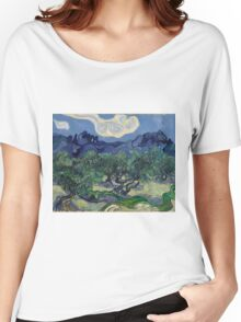 Vincent Van Gogh Post - Impressionism Oil Painting, The Olive Trees, 1889 Women's Relaxed Fit T-Shirt