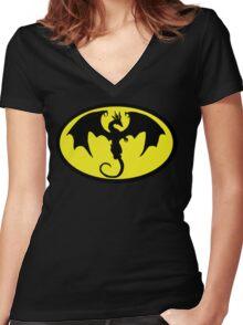 Batman Dragon Women's Fitted V-Neck T-Shirt