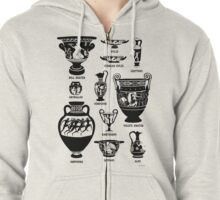 Ancient Greek Pottery Silhouette Zipped Hoodie