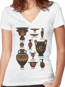Ancient Greek Pottery Women's Fitted V-Neck T-Shirt