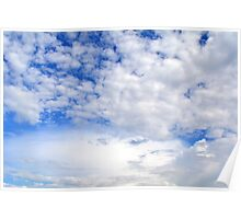 Blue sky with fluffy clouds. Poster