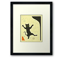 BLACK CAT WITH STRING Framed Print