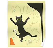BLACK CAT WITH STRING Poster