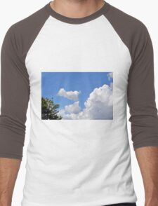 Blue sky with fluffy clouds and soap bubbles. Men's Baseball ¾ T-Shirt