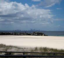 Gold Coast Skyline - from Coolangatta Beach, Qld. Australia.  by Margaret Stanton