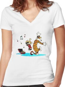 Calvin and Hobbes Dance Women's Fitted V-Neck T-Shirt