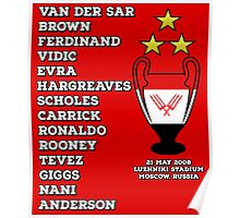 Manchester United 2008 Champions League Winners Poster