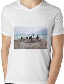 Gentoo Penguin Rookery on Trinity Island, Antarctica Mens V-Neck T-Shirt