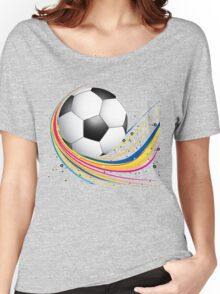 Abstract football green colorful wave Women's Relaxed Fit T-Shirt