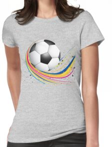 Abstract football green colorful wave Womens Fitted T-Shirt
