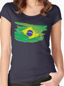 Brazil flag stylized Women's Fitted Scoop T-Shirt