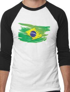 Brazil flag stylized Men's Baseball ¾ T-Shirt
