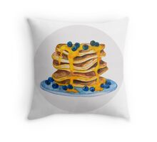 Watercolor Blueberry Pancakes Throw Pillow
