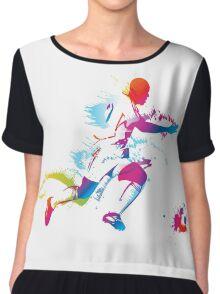 Colorful footballer chasing the ball graphics Chiffon Top