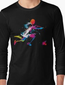 Colorful footballer chasing the ball graphics Long Sleeve T-Shirt