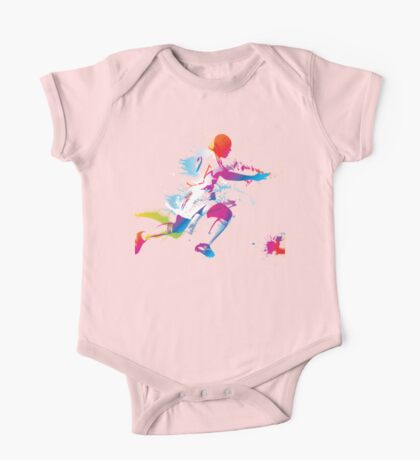 Colorful footballer chasing the ball graphics One Piece - Short Sleeve
