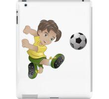 Brazil boy kicking the football flag background iPad Case/Skin