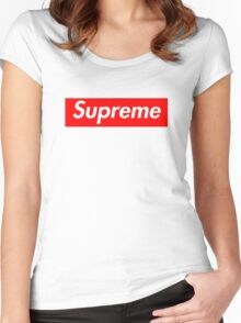 high quality supreme box logo - 4k Women's Fitted Scoop T-Shirt