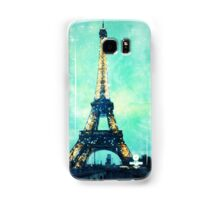 Eiffel Tower Print in Mint Green and Teal Blue Samsung Galaxy Case/Skin