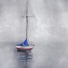 Sailboat in the fog by Marikohandemade