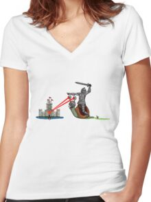 The Knight and the Snail - random edition Women's Fitted V-Neck T-Shirt