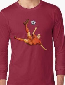 Orange dress soccer playing flaying kick art Long Sleeve T-Shirt