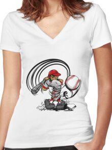 Funny cartoon baseball player Women's Fitted V-Neck T-Shirt
