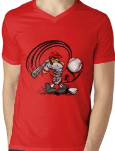 Funny cartoon baseball player Mens V-Neck T-Shirt