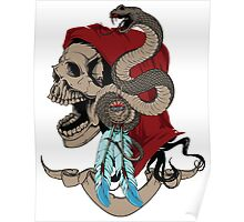 Indian skull with snake Poster