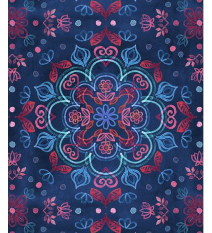 Cherry Red & Navy Blue Watercolor Floral Pattern Sticker