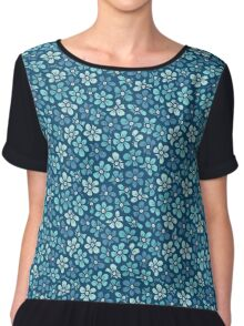 Cute blue flower  pattern Chiffon Top