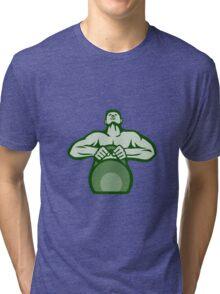 Athlete Weightlifter Lifting Kettlebell Retro Tri-blend T-Shirt