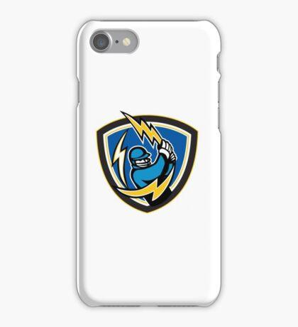 Cricket Player Lightning Bat Crest Retro iPhone Case/Skin