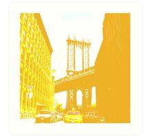 Yellow Brooklyn Bridge Art Print