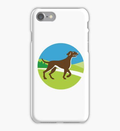 English Pointer Dog Pointing Up Circle Retro iPhone Case/Skin