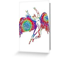 ICARUS THROWS THE HORNS - TIE DYE 1 Greeting Card