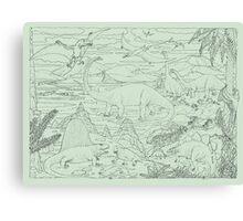 Dinosaur Scene, Green Background Canvas Print